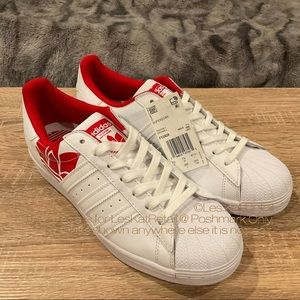 Adidas Red & White Superstar Shoes